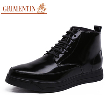 GRIMENTIN 2016 Fashion short men's shoes ankle boots genuine leather lace up black man shoes for men causal business office