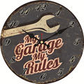 Потертый шик  мой гараж мои правила настенные часы  винтажные настенные часы  настенные часы домашний декор  настенные часы большой подарок