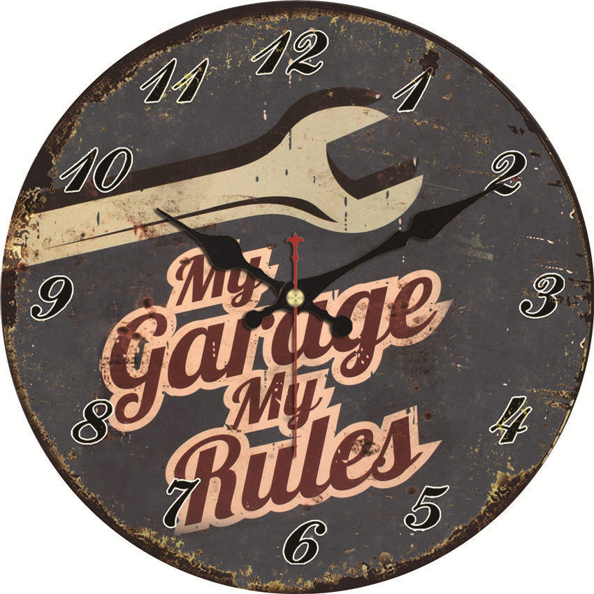 Shabby Chic,My Garage My Rules Wall Clocks,Vintage Wall Clock,Wall Watches Home Decor,Wall Clock Large Gift