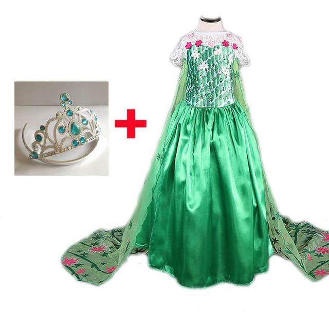 2017 Elsa Vestido com Coroa Livre Verde vestidos Da Menina Rainha Elsa Traje Vestidos de Festa Cosplay Fantasia Infantil Vestido de Verao
