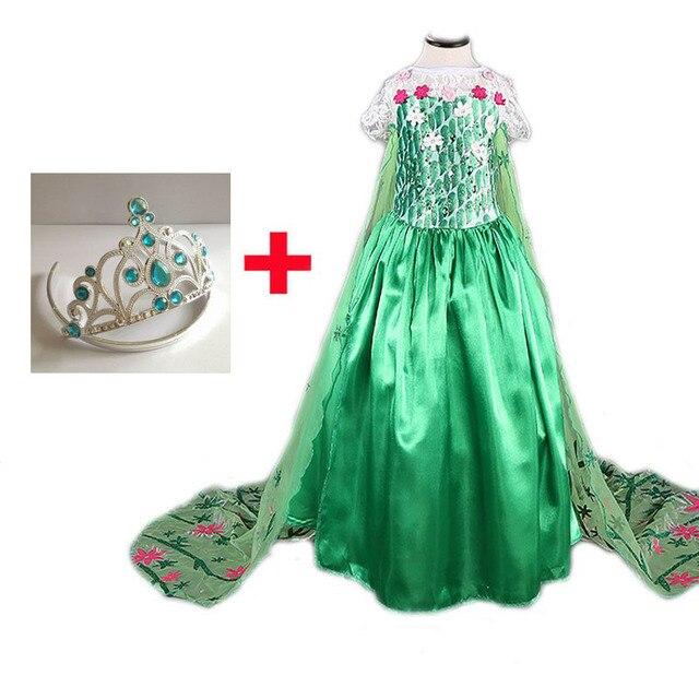 2017 Green Elsa Dress with Free Crown Girl dresses Queen Elsa Costume Party Dresses Cosplay Fantasia Infantil Vestido de Verao