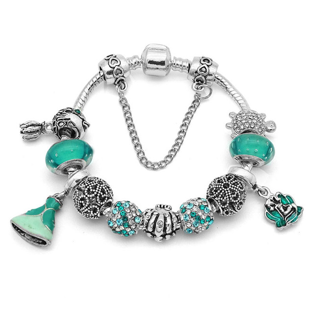 New Green Princess Mermaid Charm Bracelet For Women Fit European Pan Bangles Jewelry Diy