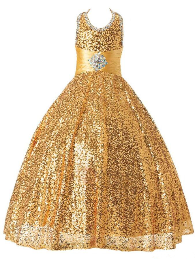 Gold Sequins 2019 New Flower Girls Dresses for Wedding Ball Gown Puffy Sequined Tulle Girls Pageant Gown Birthday Party DressGold Sequins 2019 New Flower Girls Dresses for Wedding Ball Gown Puffy Sequined Tulle Girls Pageant Gown Birthday Party Dress