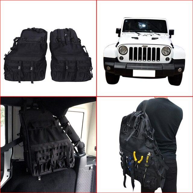 € 115.65 |2x De Stockage Sac Bagages pour Jeep Wrangler JK 4 porte 2007 2016 Multi Poches Outil Kit L'encombrement Bouteille Gadget Sacoche 5 dans