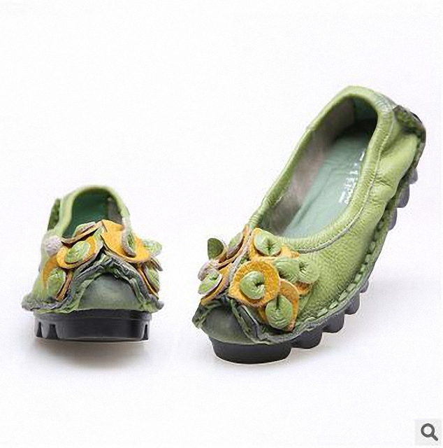Plus Size 41 Women Genuine Leather Shoes,Women Shoes Big Size 41 Loafers Soft Leisure Flats Shoes,Female Casual Flowers 4 Colors