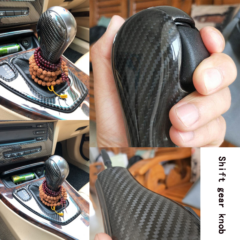 Pommeau de vitesse automatique en fibre de carbone couleur pistolet m-style pour BMW E39 E46 E60