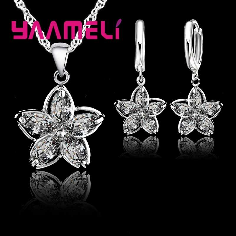 New Fashion Elegantment Unique Flower Shape CZ Crystal   Silevr Jewelry Sets Charming For Woman Girls Festival Gift