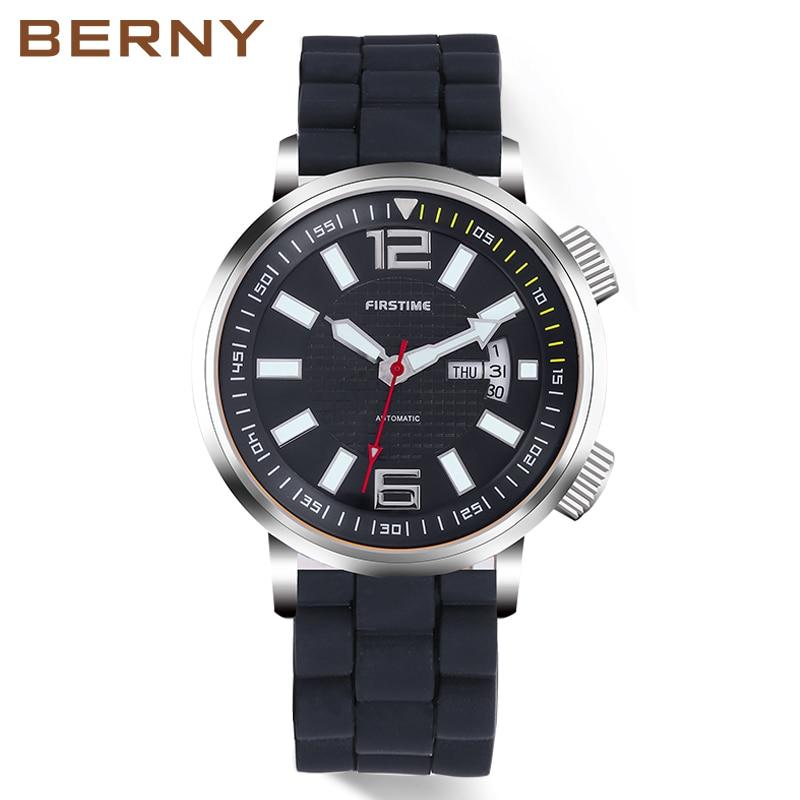 6cb80ff6227 Relógio Mecânico automático Dos Homens Simples Mãos Luminosas 20ATM  Mergulhador Mergulho À Prova D  Água