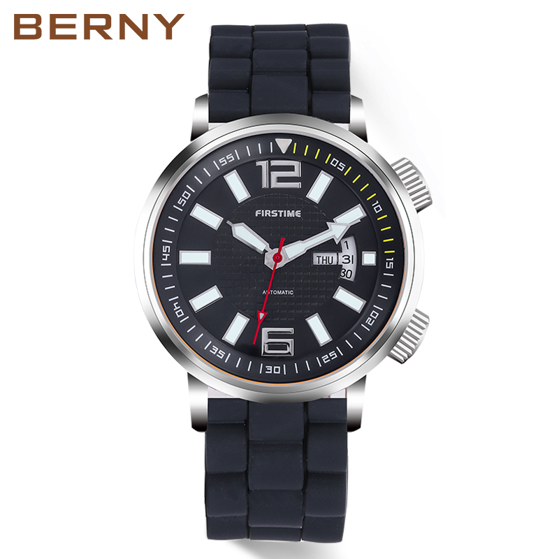 Automatic Mechanical Men Watch Sport Simple Luminous Hands Diver Swim Waterproof 20ATM Japan Movement Watches Relogio Mecanico цена и фото