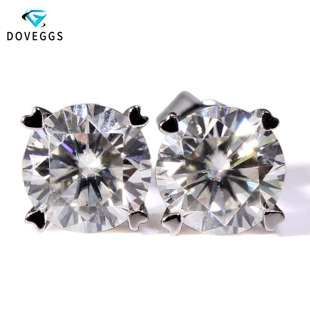 db4ae3d53 DovEggs 14K 585 White Gold 2ctw Carat F Color Lab Created Moissanite  Diamond Stud Earrings For Women Gold Earring Screw Back