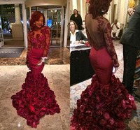 2019 Romantic Red Evening Dress Mermaid With Rose Floral Ruffles Sheer Prom Gown With Applique Long Sleeve Prom Dresses