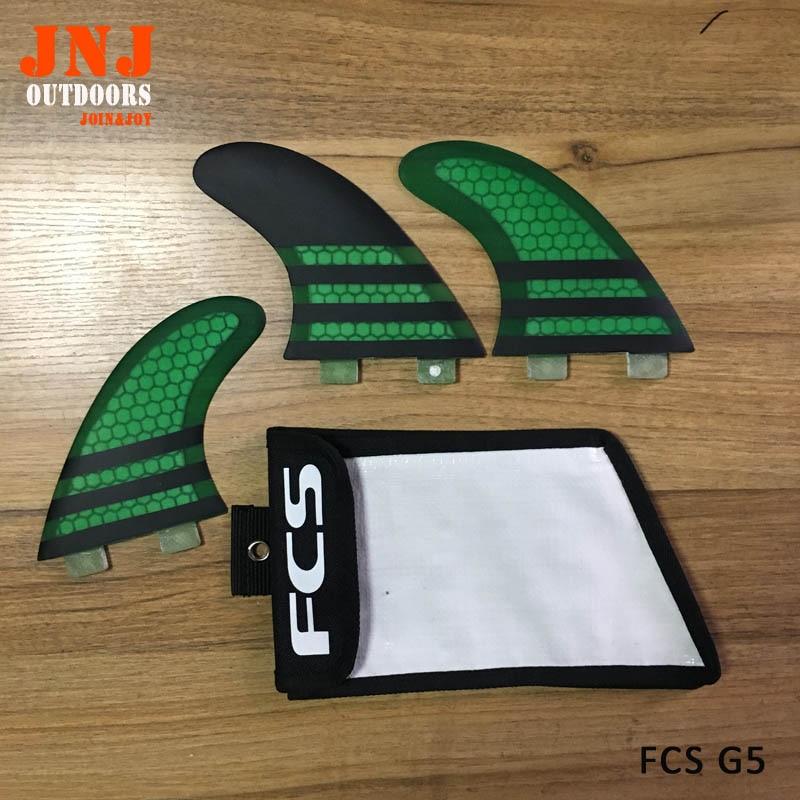 Marque new Green FCS G5 ailettes de surf/planche de surf fcs/en fiber de verre surf ailettes/ailettes futures avec sac