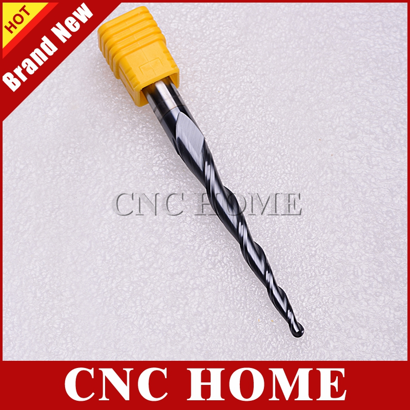1x R2*70C*10D*110L 2 Flute 10MM Shank Carbide Tapered Ball Nose End Mill CNC Bit