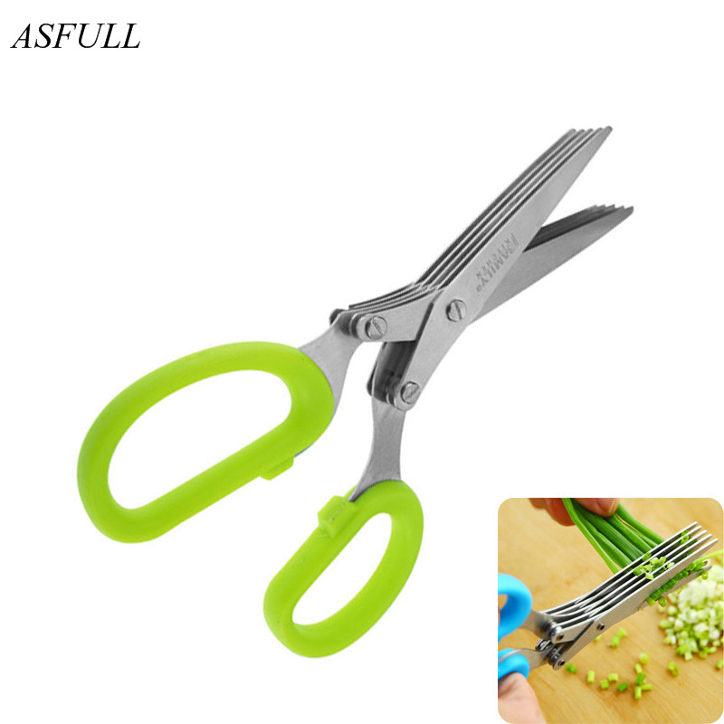 ASFULL Novelty 5 layers of stainless steel kitchen Chopped scallions scissors cut office shredding DIY for craft scissors