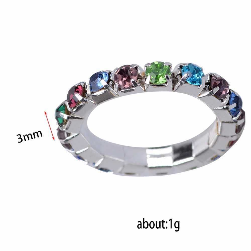 JUCHAO เงินร้อนสียืดหยุ่น Zircon One แถวแหวน Rhinestones ยืดหยุ่นแหวนของขวัญแหวนคริสตัล Drop Shipping