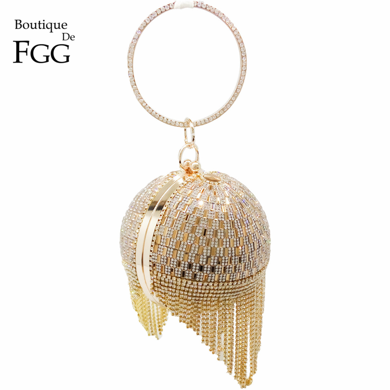 Golden Diamond Tassel Women Party Metal Crystal Clutches Evening Bags