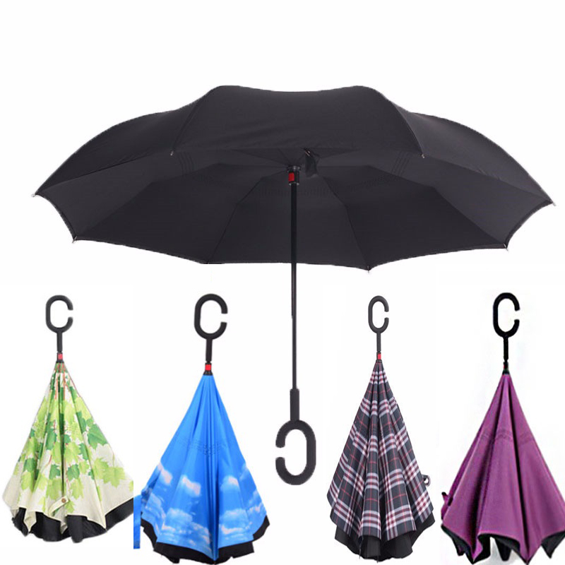 Inverted Reverse Folding Umbrella Double Layer Opaque Unbrellas Cloth UV Protection Windproof Rainproof For Women Umbrellas