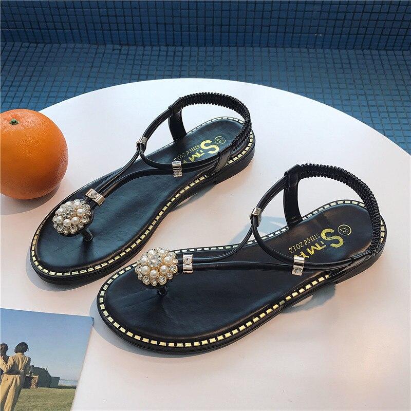 Fires Flat Sandals Casual-Shoes Black Female Green Fashion Summer Women Brand Toe Clip