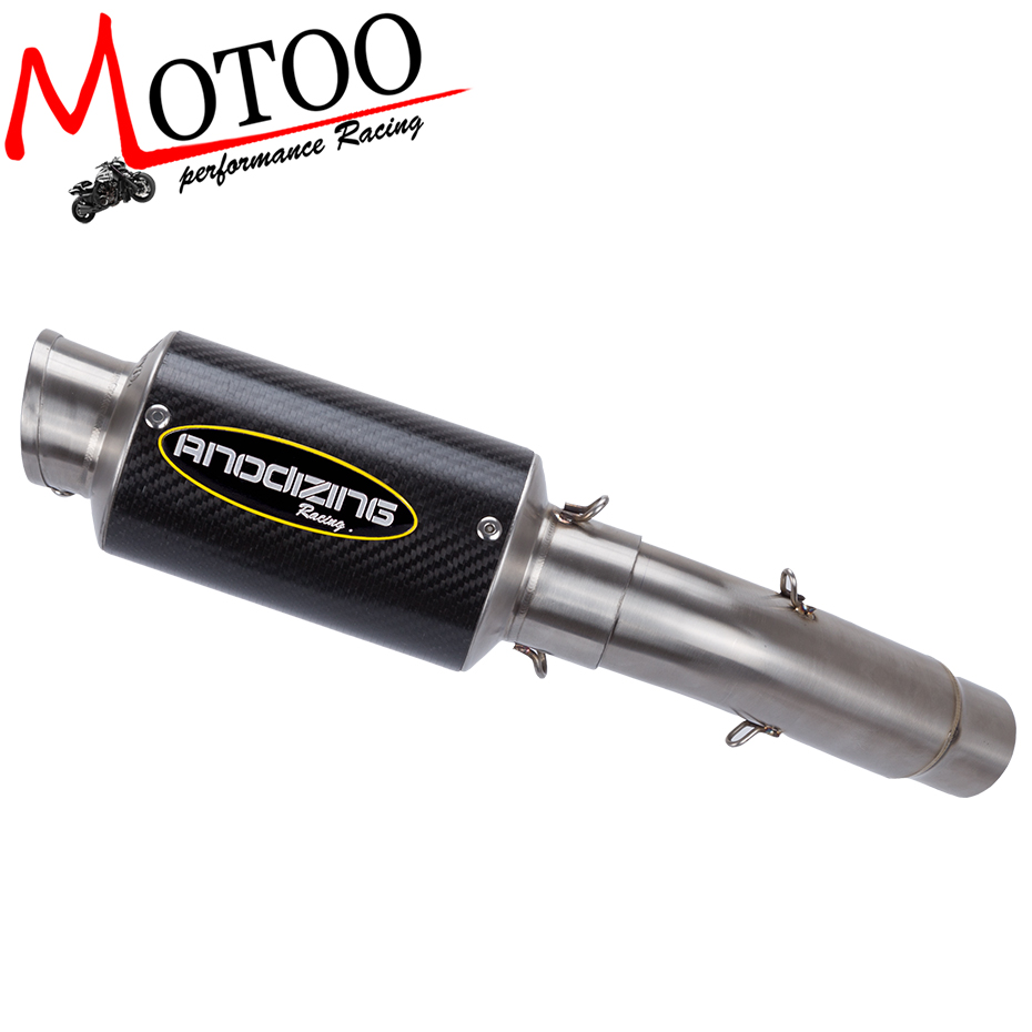 Motoo Motorcycle Exhaust Muffler Link Pipe Carbon Fiber Exhaust middle Pipe Escape FOR SUZUKI GSXR 600