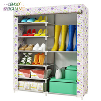 6 layers 8 grid shoes cabinet simple fashion Pattern Non woven fabric shoe rack organizer removable shoe storage home furniture