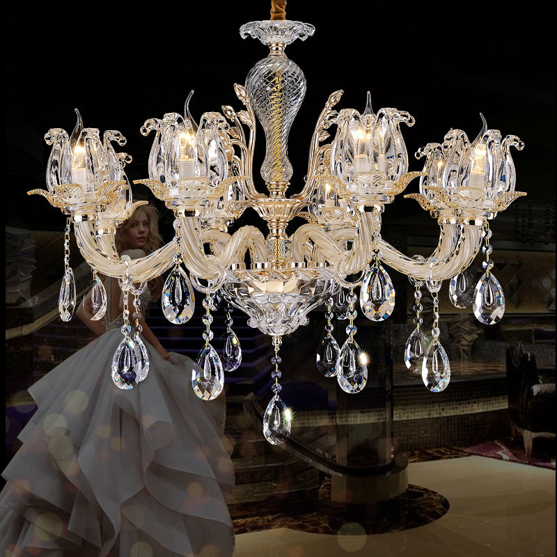 Large Crystal Chandelier 8 Arms Luxury Crystal Light