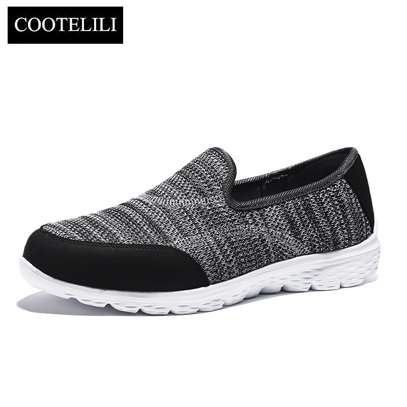 COOTELILI Women Sneakers Platform Casual Shoes Woman Flats Slip on Splice Loafers Ladies Black Gray Blue Plus Size 40 41 42 akexiya casual women loafers platform breathable slip on flats shoes woman floral lace ladies flat canvas shoes size plus 35 43