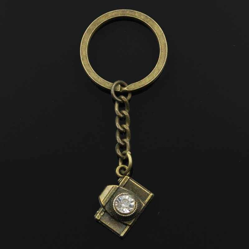 Moda 30mm Chave Anel Chave Chaveiro Chaveiro de Metal de Jóias Antigas de Prata Banhado A Bronze câmera 20x16mm Pingente