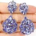 Moda Longo Grande Rico Azul Violeta Tanzanite Gota Criado SheCrown da Mulher Brincos de Prata Do Casamento 52x29mm