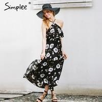 Simplee Navy Floral Print Split Summer Dress Women Halter Back Zipper Long Dress Sexy Beach Backless