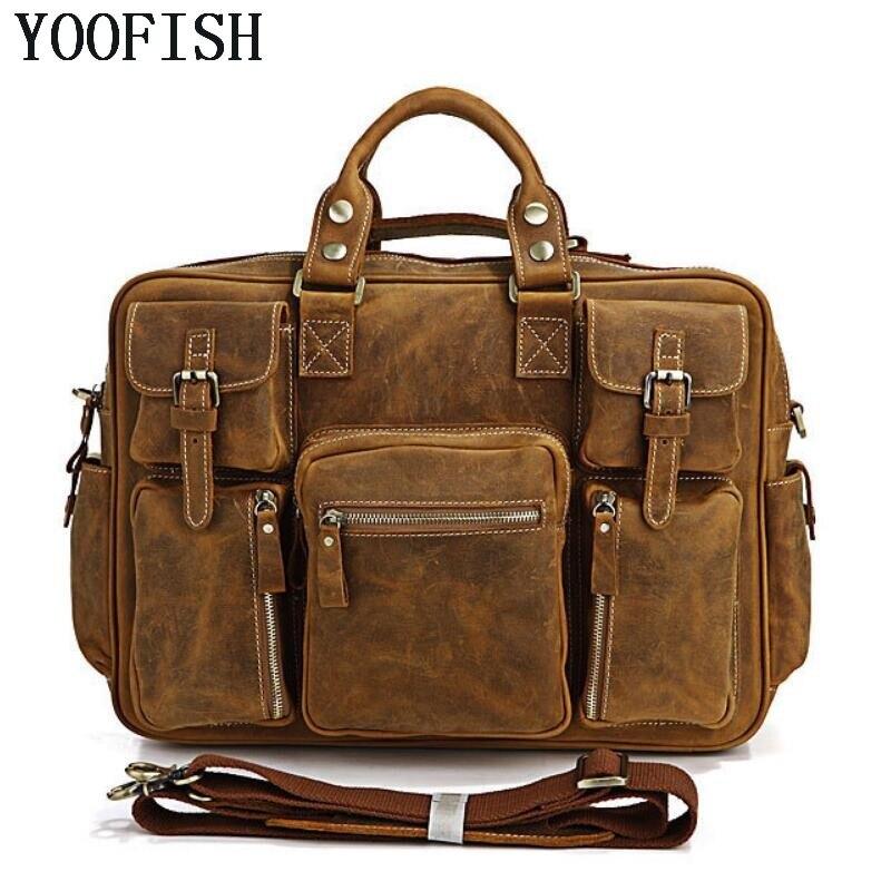 купить YOOFISH Large Capacity Genuine Leather Briefcase Men Messenger Bags Cowhide 15.6