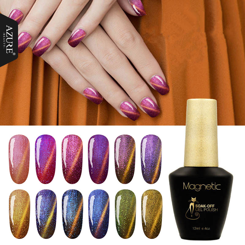 ᐂAzure Beauty Magnetic 3D Chameleon Gel nail Polish 12 color for ...