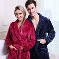 Na Venda Das Mulheres Dos Homens de Luxo de Seda Roupão de Banho Dos Homens Quentes de Inverno flanela Longo Kimono Robe Masculino Roupões de Banho Amantes Vestir Noite vestido