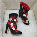 2016 Зима Новый Черный Вышивка Кожа Короткие Сапоги Роскошный Горный Хрусталь Цветы Показать Пинетки Сексуальные Толстые Высокие Каблуки Обуви Женщина