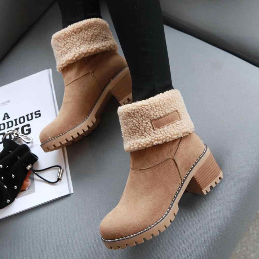 BONJOMARISA Sıcak Satış Artı Boyutu 34-46 Kadın Platformu Kar Botları Yüksek Topuklu Kadınlar Kış çeviklik Kenar kürk Patik Ayakkabı Kadın