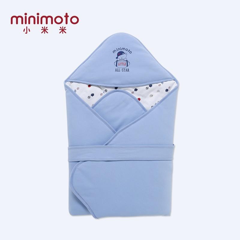 Minimoto 90*90cm Baby Swaddle Blanket Blue Baby Sleeping Swaddle Wrap Cotton Hold Hat Quilt Picnic Travel Kid Beding Sleepsacks