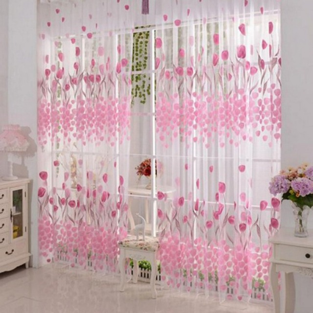 Fashionable Flower Tulip Printed Veil Curtain Simple Design Home ...
