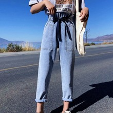 Spring Autumn Straight Woman's Jeans Korean Big Pocket Denim Jeans Womens Vintage Fashion Elastic High Waist Jeans Woman 2019 elastic waist pocket jeans