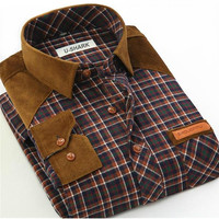 Hot Autumn New Men S Plaid Shirt Casual Slim Splicing Polished Male Long Sleeves Shirt Large