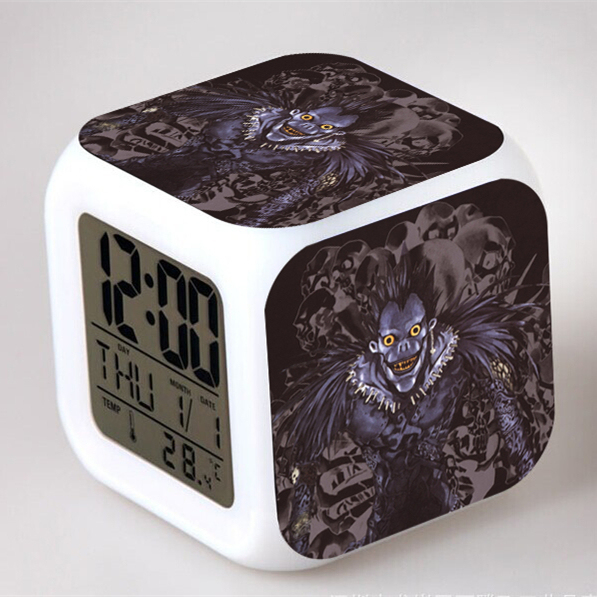 Death Note LED Clock Square Alarm Colorful Digital Night Light Electronic Clock Toy