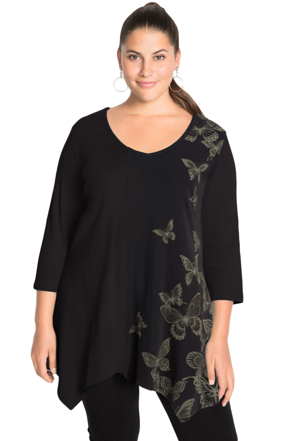 Black-V-Neck-Butterfly-Print-Plus-Size-Top-LC251495-2-1