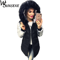 Fashion Winter Jacket Women Warm Black Parka Spliced Silver Long Sleeve Faux Fur Hooded Coat Female