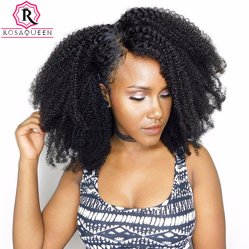 Afro Kinky Curly Clip In Human Hair Extensions 4B 4C Brazilian Human Natural Hair Clip Ins Rosa Queen Remy Full Head