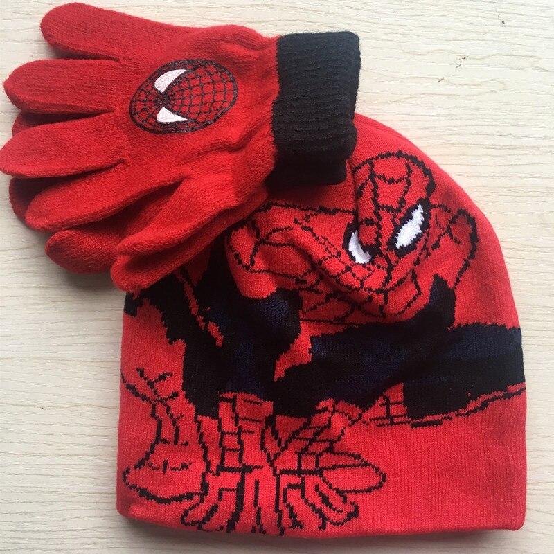 Brand New Children Kids Cartoon Spider-man Knitting Hats Glove Set