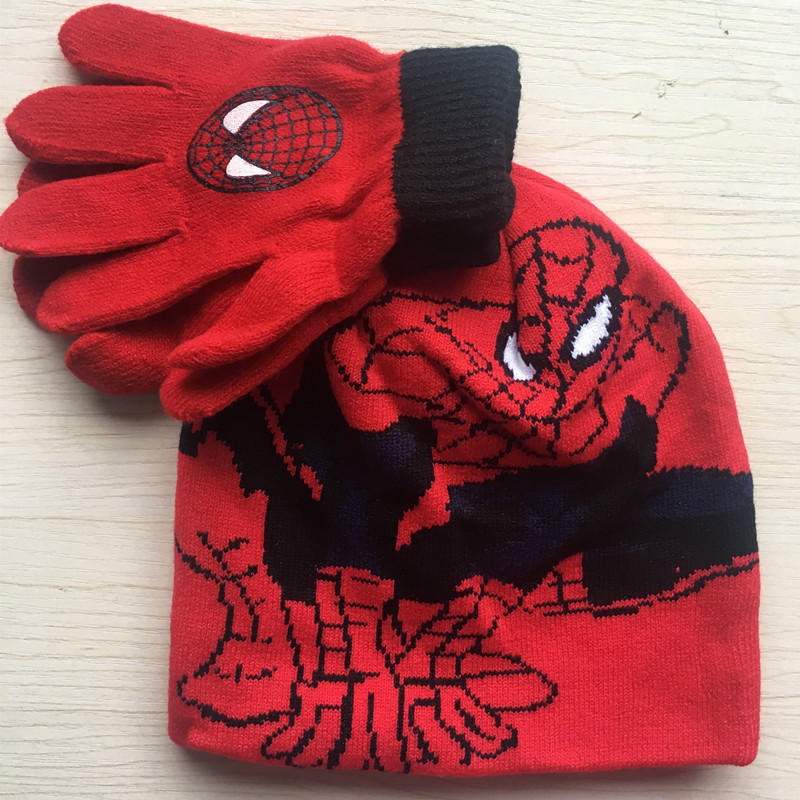 Marke Neue Kinder Kinder Cartoon Spider-man Knitting Hüte Handschuh-set
