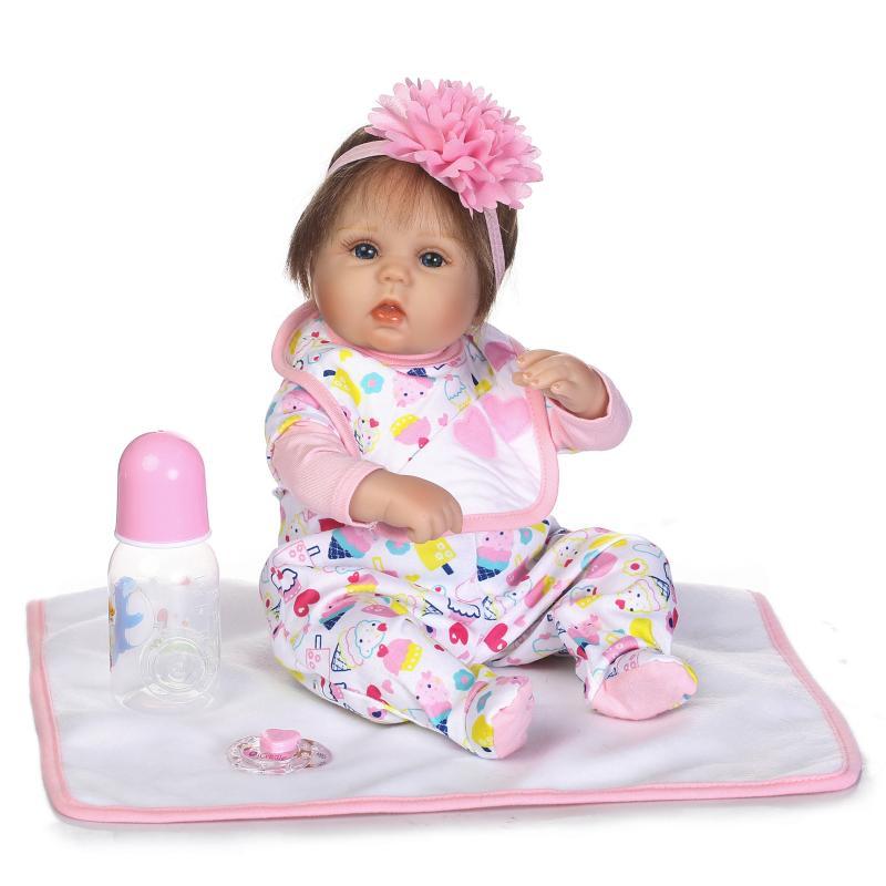 New Face 16 Inch 40cm Silicone Reborn Dolls So Truly Real Pink Dressed Reborn Baby Girl bonecas Girls Toys Brinquedos menina