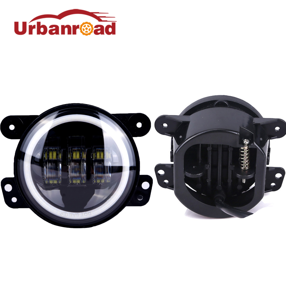 Urbanroad 2Pcs 30W 4'' Inch Round Led Fog Light Headlight Lens With Halo DRL Lamp Headlamp For Jeep Wrangler JK Harley Daymaker on sale 2pcs auto accessories 6500k 4inch 30w led fog lamp light fits for jeep wrangler jk 2007 2015