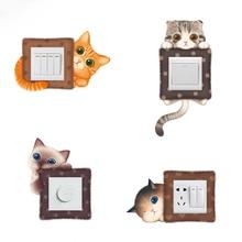 6pcs/set Cute cartoon cat switch sticker living room bedroom dormitory wall decorative PVC socket refrigerator
