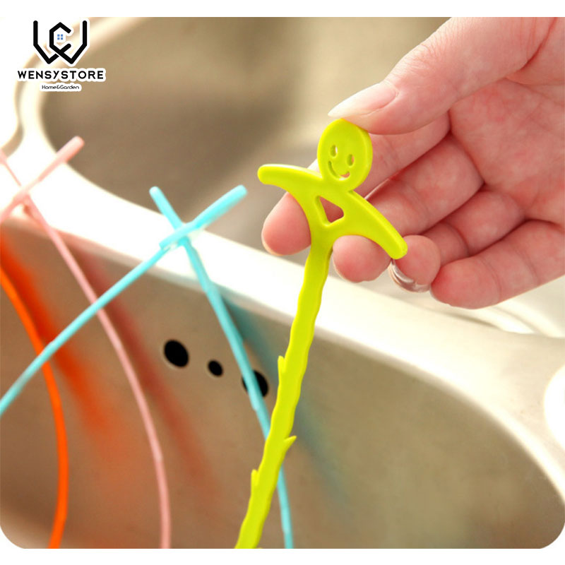 Kitchen Bathroom Sink Pipe Drain Cleaner Pipeline Hair Cleaning Removal Shower Toilet Sewer Clog Long Line Plastic Hook XFx15 in Cleaning Brushes from Home Garden