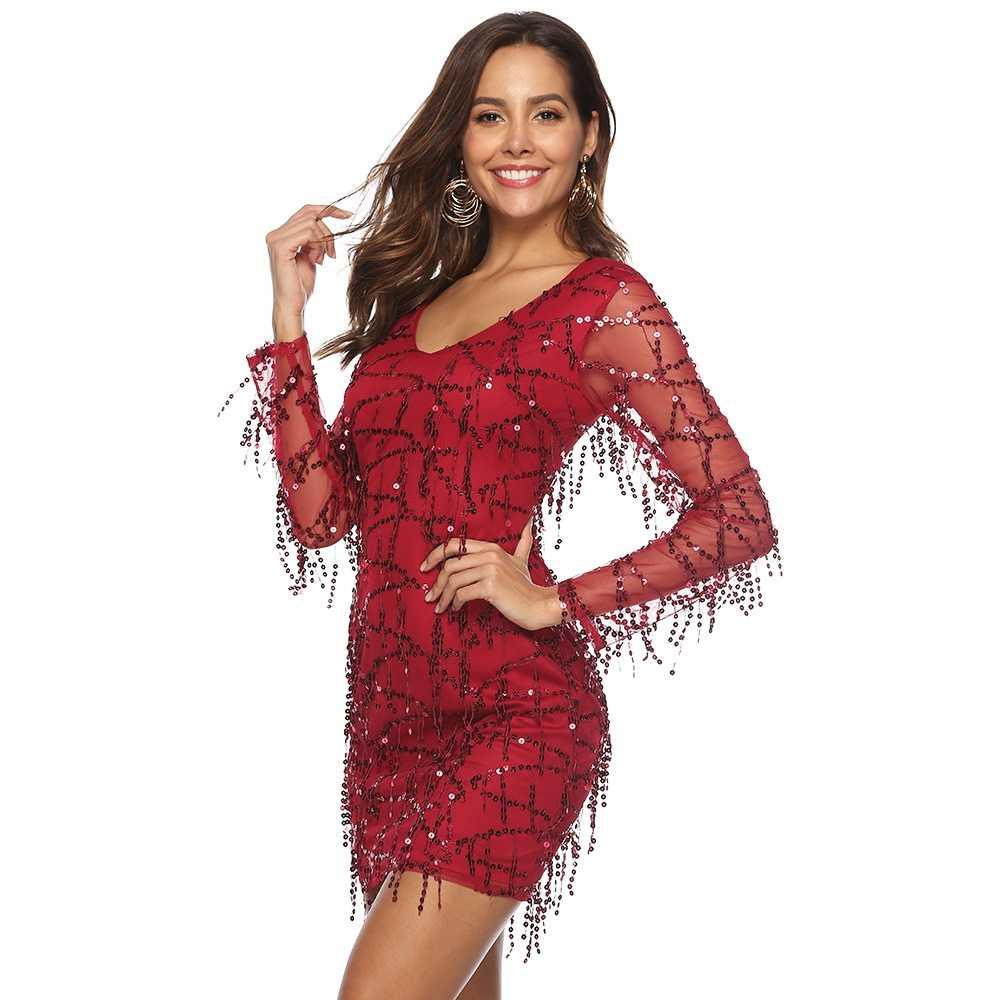 Sexy Vestido Con Flecos Lentejuelas Rojo Apretado Tassel Corto Vestido De Fiesta De Talla Grande 2xl Mujeres Nuevo Vestido Ajustado De Manga Larga Vestidos De Fiest Vestidos Aliexpress