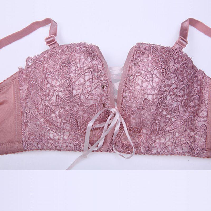 Push Up Embroidery Drawstring Bra Set Sexy Lingerie Underwear Women Panties And Bralette Underclothes Female Underwear Bra Set in Bra Brief Sets from Underwear Sleepwears